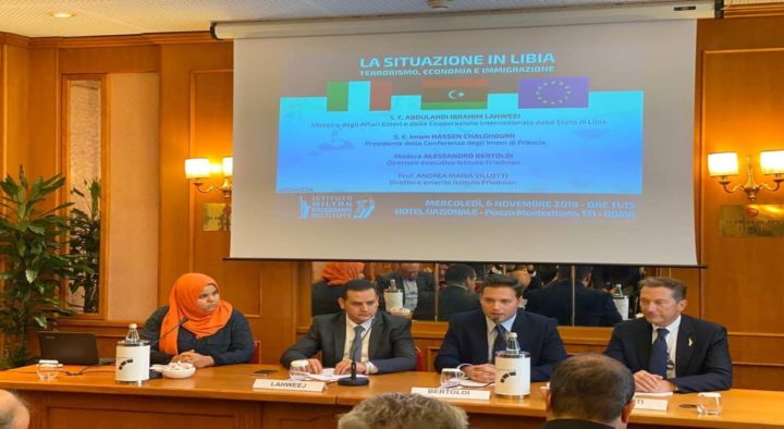 """ITALIA-LIBIA: ISTITUTO FRIEDMAN OSPITA MINISTRO LAHWEEJ, """"COMBATTIAMO TERRORISMO E IMMIGRAZIONE INCONTROLLATA VERSO EUROPA"""""""